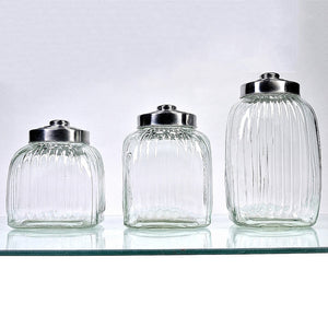 Glass Ribbed Canisters Set of 3