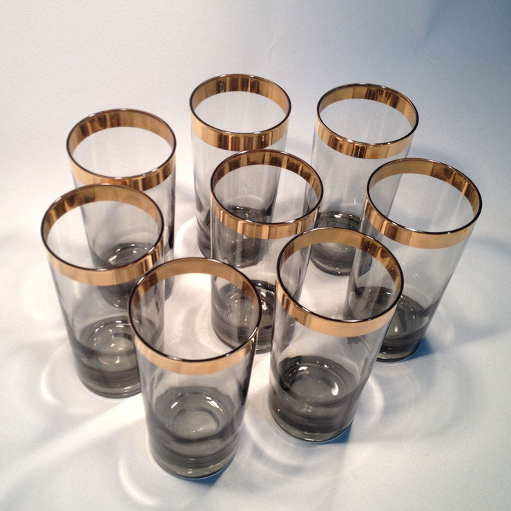 Rimmed Smoked Highball Glasses