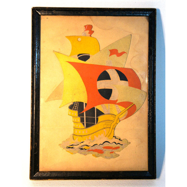 Framed Vintage Ship Cutout