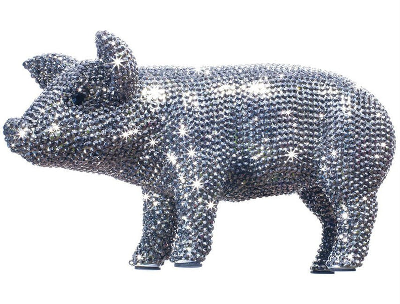 "Interior Illusions Plus Graphite Rhinestone Piggy Bank - 12"" long"