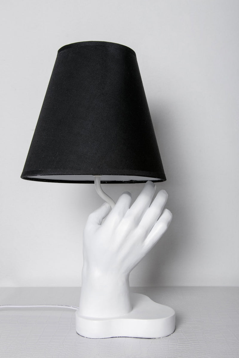 "Interior Illusions Plus White & Black Hand Lamp - 20"" tall"