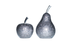 "Interior Illusions Plus Graphite Rhinestone Apple Decoration - 6"" tall"
