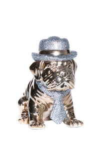 "Interior Illusions Plus Bronze Bulldog with Rhinestone Hat & Tie - 10"" Tall"