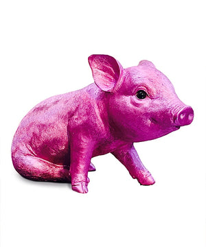 "Interior Illusions Plus Pink Chrome Piggy Standing - 9.5"" long"