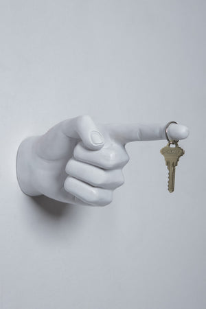 White One Finger Pointing Wall Mount - 8""