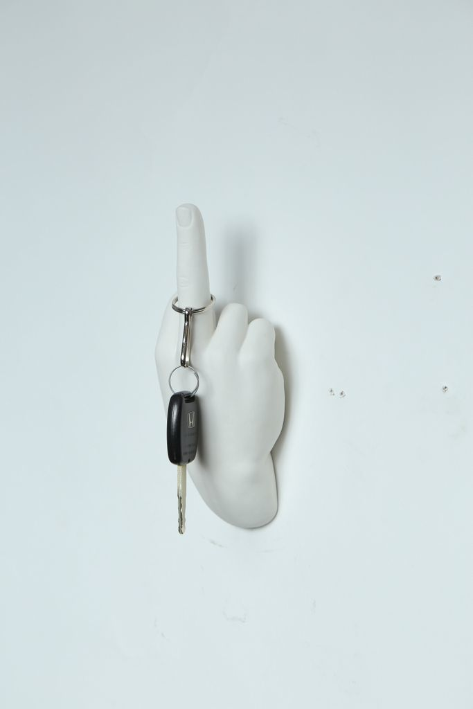 "White Middle Finger Wall Mount - 7"" long"
