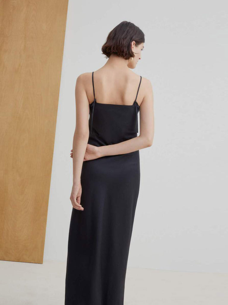 Ada Long Slip Dress - Black
