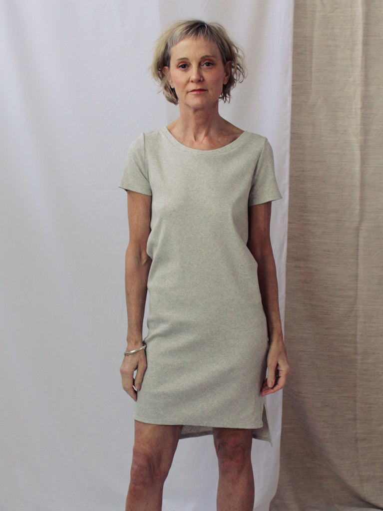 Smooth Rib Tee Dress - Grey