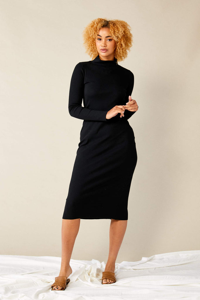 Skivvy Rib Dress  - Black