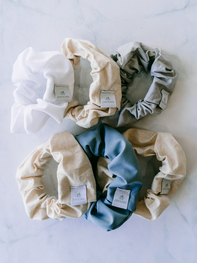 Eco Scrunchie - Canvas and Blue