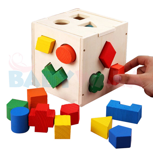 Educational Wooden Toy Multi-functional Box with Shapes