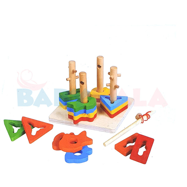 Educational Wooden Toy 4-Column With Fishing
