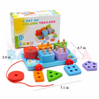 Educational Wooden Toy 5-Column Trailer