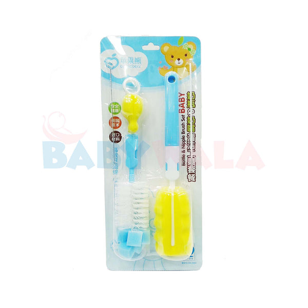 Applebear Bottle & Nipple Brush Set (Blue)