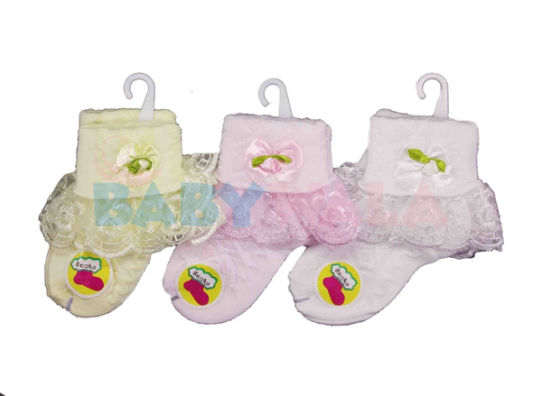 Baby Girls' Socks with Lace 1-3 Years (1 Pair)