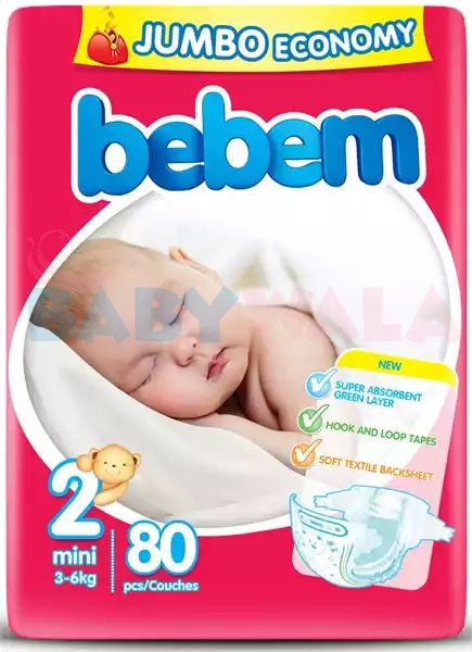 Bebem Baby Belt Diaper 2 Mini 3-6 kg 80pcs