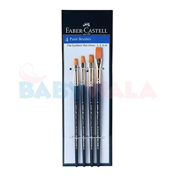 Faber-Castell 4 Flat Paint Brushes (Sizes 0, 2, 4 , 6)