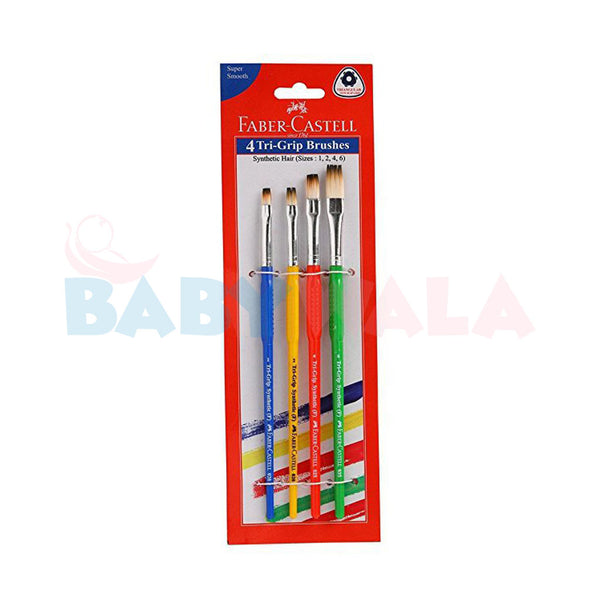 Faber-Castell 4 Tri-Grip Round Synthetic Paint Brushes (Sizes 0, 2, 4 ,6)