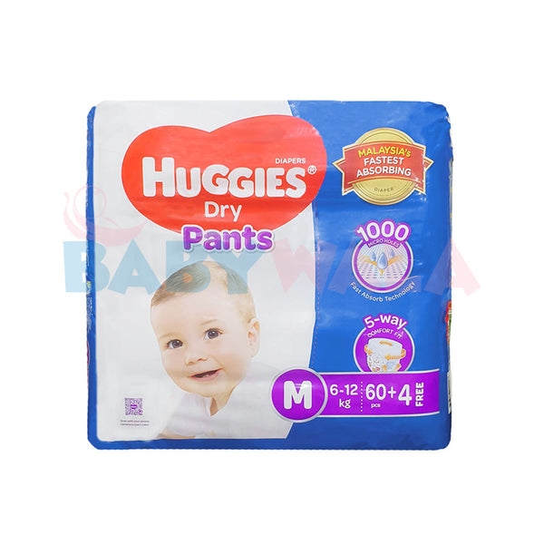 Huggies Dry Pants Pant System, Size-M, 6-12 kg, 64pcs  (Malaysia)