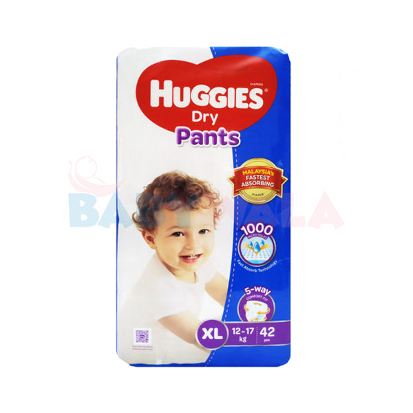 Huggies Dry Pants Pant System, Size-XL, 12-17kg, 42pcs  (Malaysia)