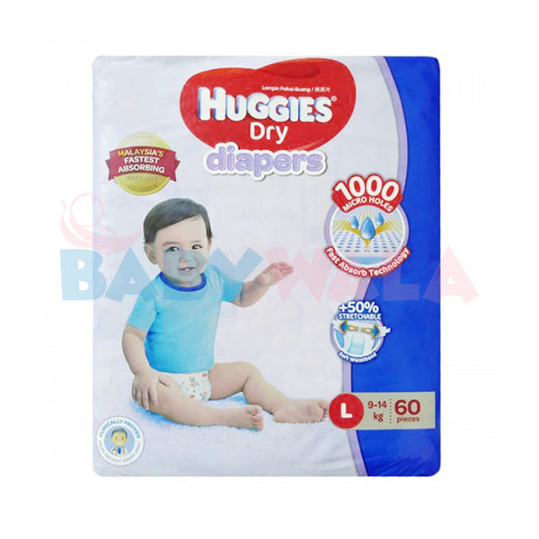 Huggies Dry Diapers Belt System Size-L, 9-14kg, 60pcs  (Malaysia)