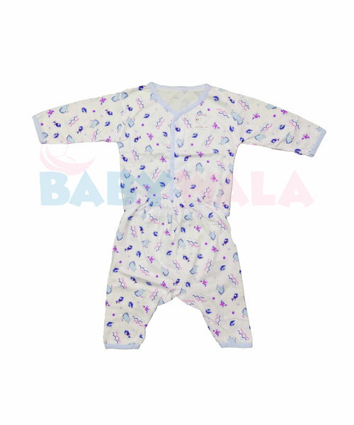 KeroKid Full-Sleeve Nima with Buttons (0-6 Months) Blue