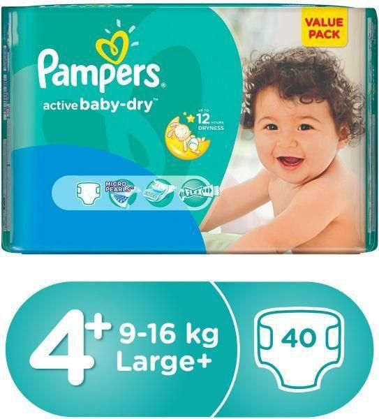 Pampers Baby Dry Belt System Diapers 4+ 9-16kg 40pcs (Saudia)