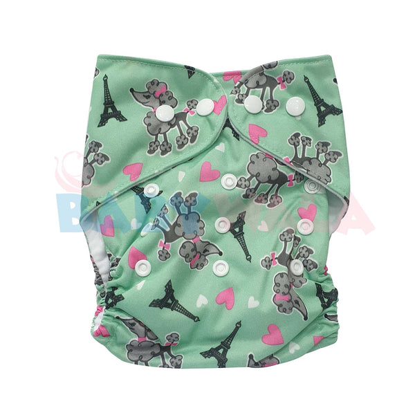 Printed Washable Diaper Pant Green