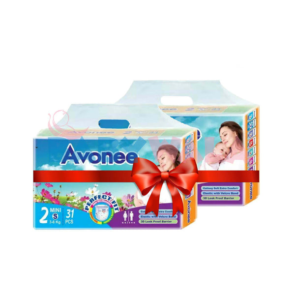 Avonee Baby Diaper Belt System (2 Mini) 3-6kg 62 pcs (Bundle Offer)