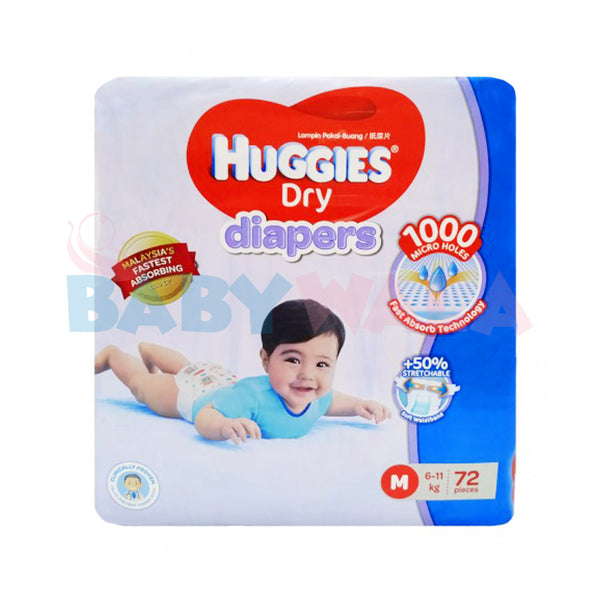 Huggies Dry Diapers Belt System Size- M, 6-11kg, 72pcs  (Malaysia)