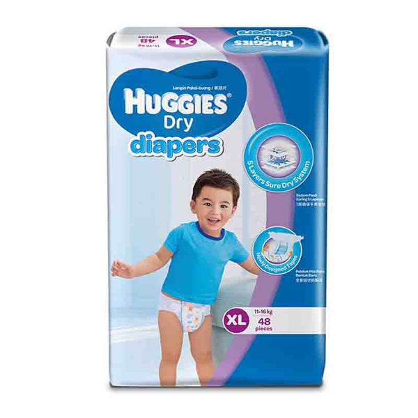 Huggies Dry Diapers Belt System, Size-XL, 11-16kg, 48pcs  (Malaysia)