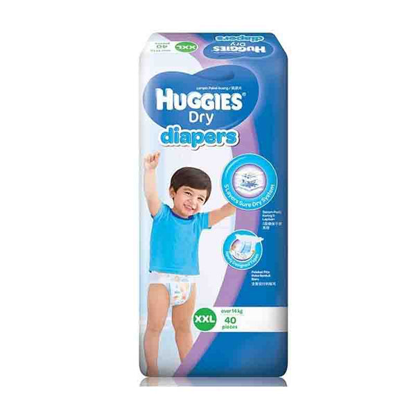 Huggies Dry Diapers Belt System, Size-XXL, 14kg+, 40 pcs  (Malaysia)