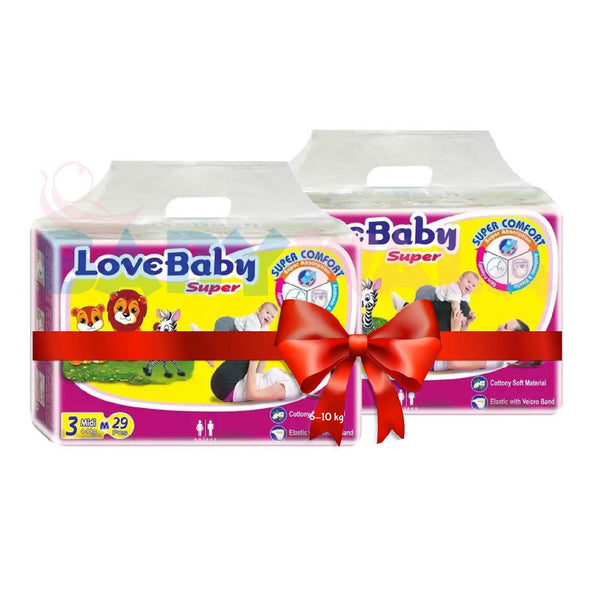 LoveBaby Diapers M 4-9kg 58 pcs (Bundle Offer)