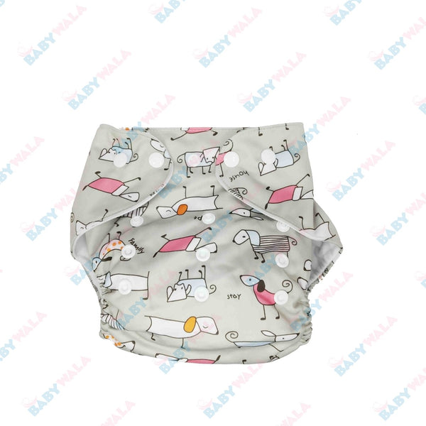 Printed Washable Diaper Pant Gray