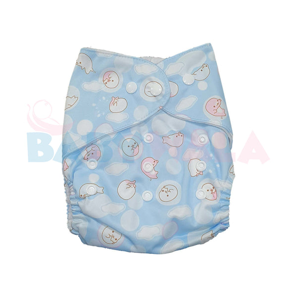 Printed Washable Diaper Pant Light Blue
