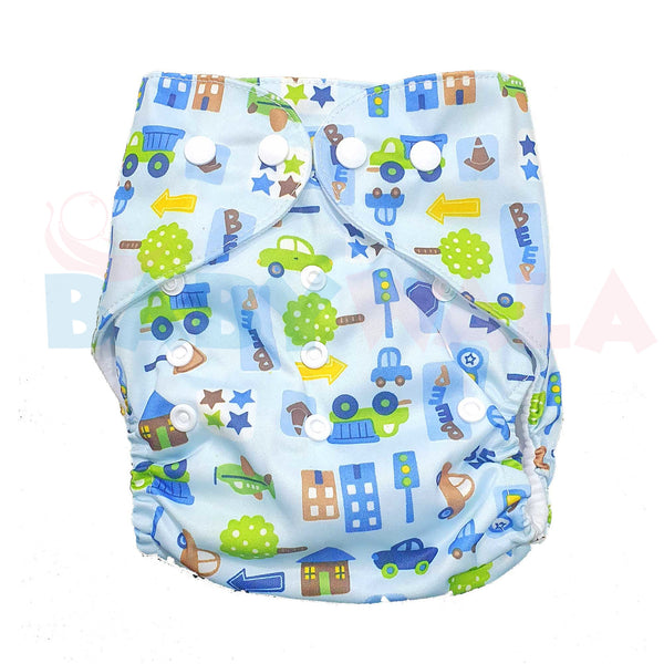 Printed Washable Diaper Pant Blue.