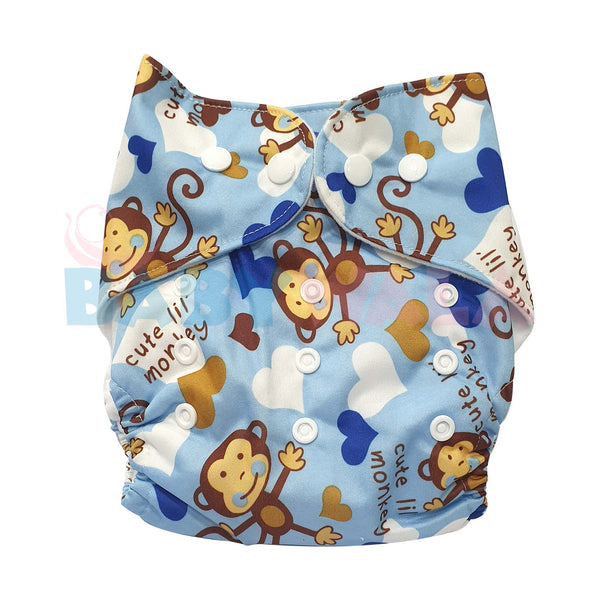 Printed Washable Diaper Blue