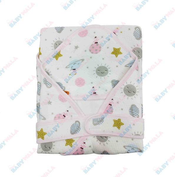 Printed Baby Blanket with Belt - Pink