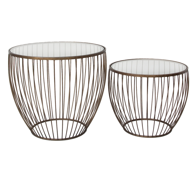 Cyclone Glass Accent Tables – Gold – Set Of 2