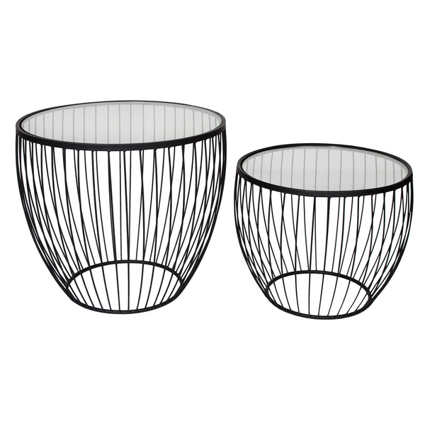 Cyclone Glass Accent Tables – Matte Black – Set Of 2