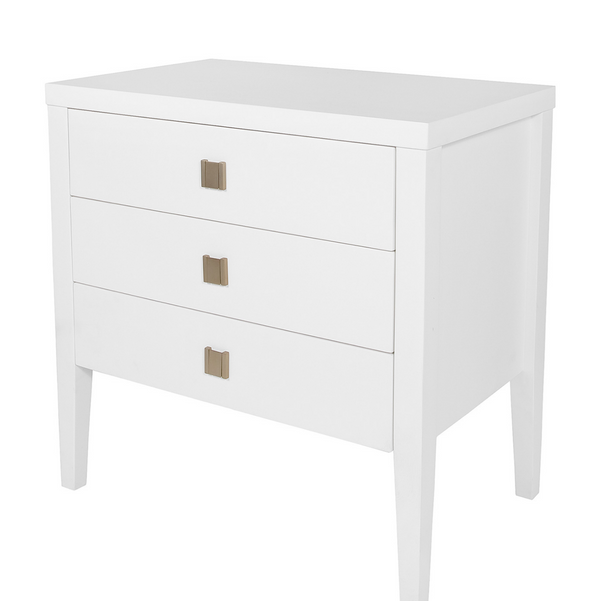 Hara Accent Table – 3 Drawer Dresser – White