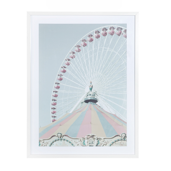 Glass With Wood Frame Wall Decor – Ferris Wheel B