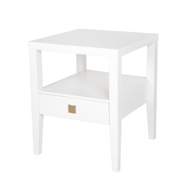 Hara Accent Table – 1 Drawer – White