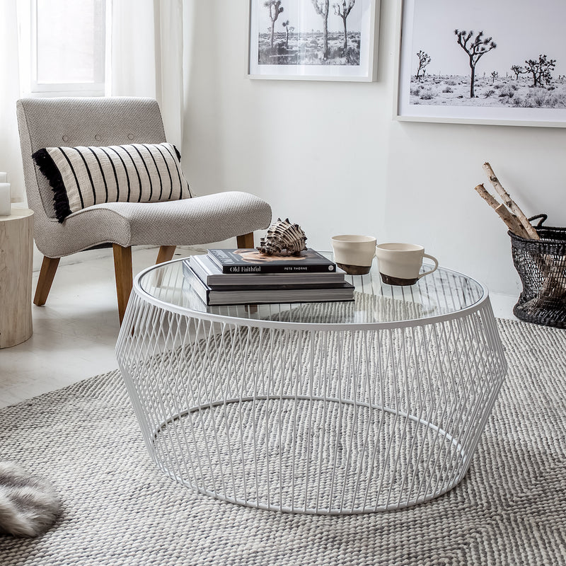 Cyclone Wire Coffee Table – White