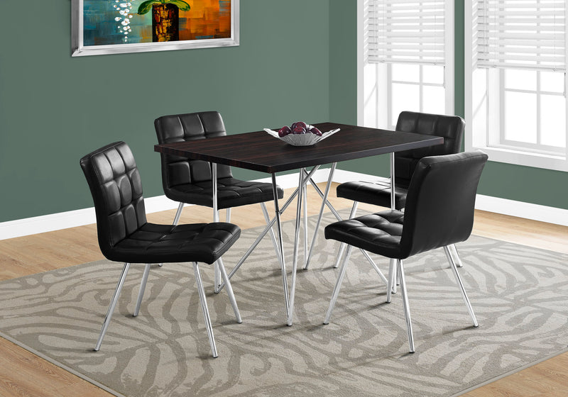 "DINING TABLE - 32""X 48"" / CAPPUCCINO / CHROME METAL"