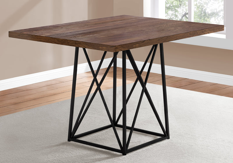 "DINING TABLE - 36""""X 48"""" / BROWN RECLAIMED WOOD-LOOK/BLACK"