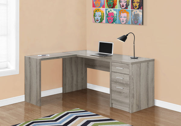 COMPUTER DESK - DARK TAUPE CORNER WITH TEMPERED GLASS