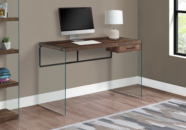 "COMPUTER DESK - 48""L / BROWN RECLAIMED WOOD/ GLASS PANELS"