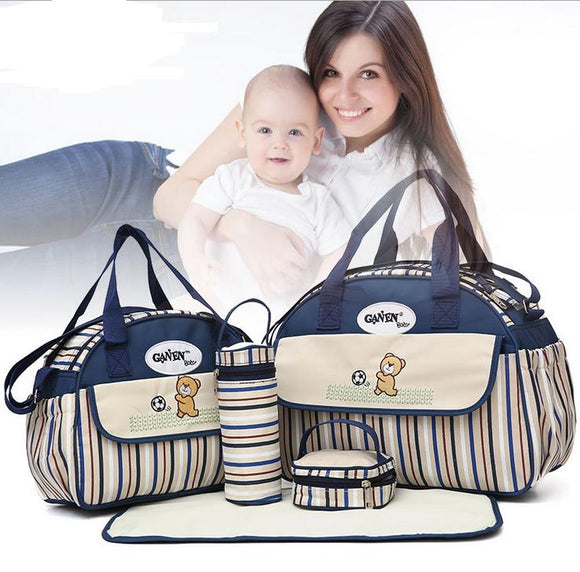 5 PCS/SET Baby Nappy Bags Diaper Bag Mother Shoulder Bag Fashion Maternity Mummy Handbag Waterproof Baby Stroller Bag