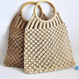 Hand-Knitted, Round Wooden Ring Rattan Handle Cotton Rope Net Woman Bag